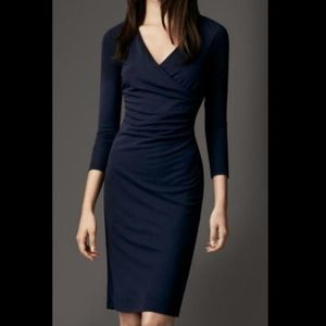 Burberry Navy ruched crossover dress
